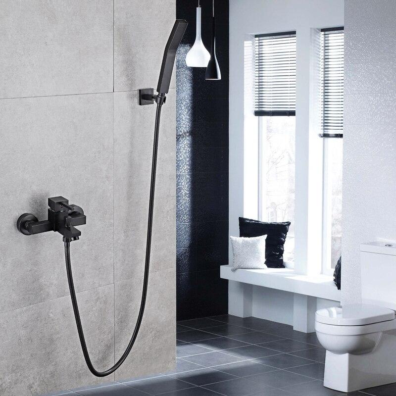 Shower Faucet Black Brass Wall Mount Bathtub Faucet Shower Square style Handheld Single Handle Luxury Bathroom