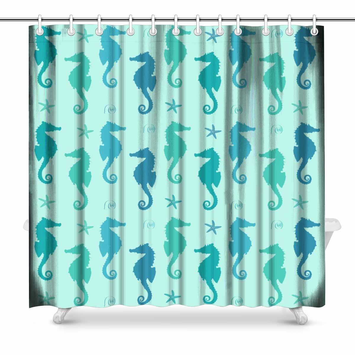 Aplysia Blue And Mint Green Seahorse Bathroom Decor Shower Curtain Set With Hooks 72 Inches Long