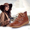 2016 British round lace Martin boots leather high-top boots female winter soft-soled boots casual snow boots autumn tide