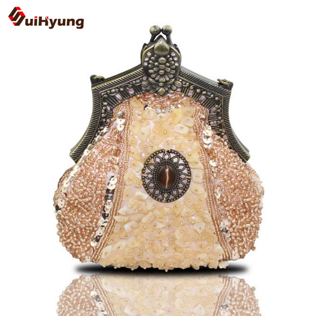 Hot Style Retro Fashion Women's Handbags Hand-beaded Sequins Bridal Tote Bag Purse Day Clutches Chain Lady Evening Bag Shoulder