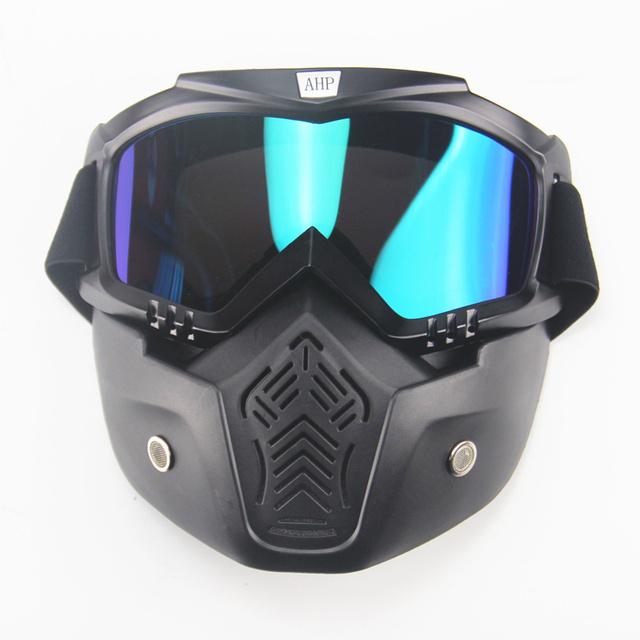 Motocross Motocicleta Gafas Gafas Máscara Boca Desmontable Modular Filtro Perfecto para Open Face Medio Casco de La Vendimia