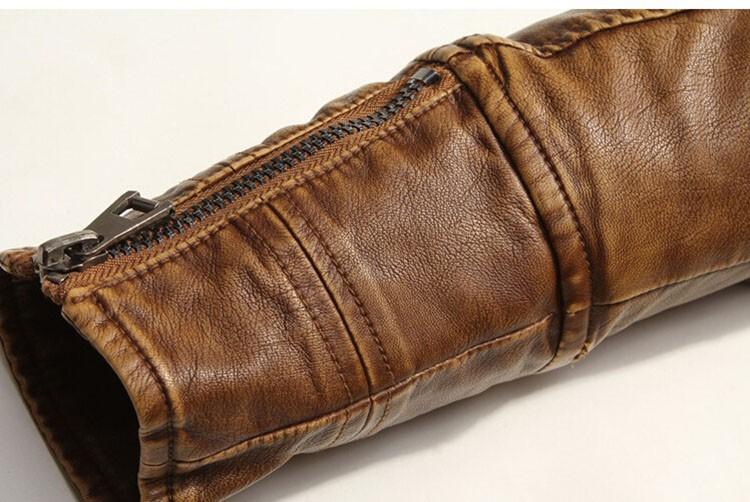 PU Leather Jacket Men 2016 Fall Winter Fashion Faux Fur Bomber Motercycle Biker Jacket High Quality Plus Velvet Casual Outwear (9)
