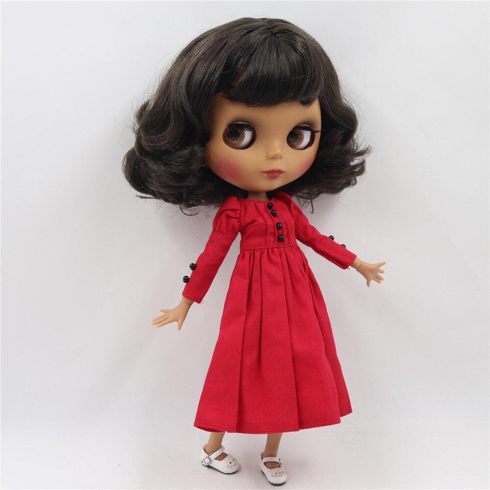 factory blyth doll 1 6 bjd joint body dark skin matte face short deep brown black