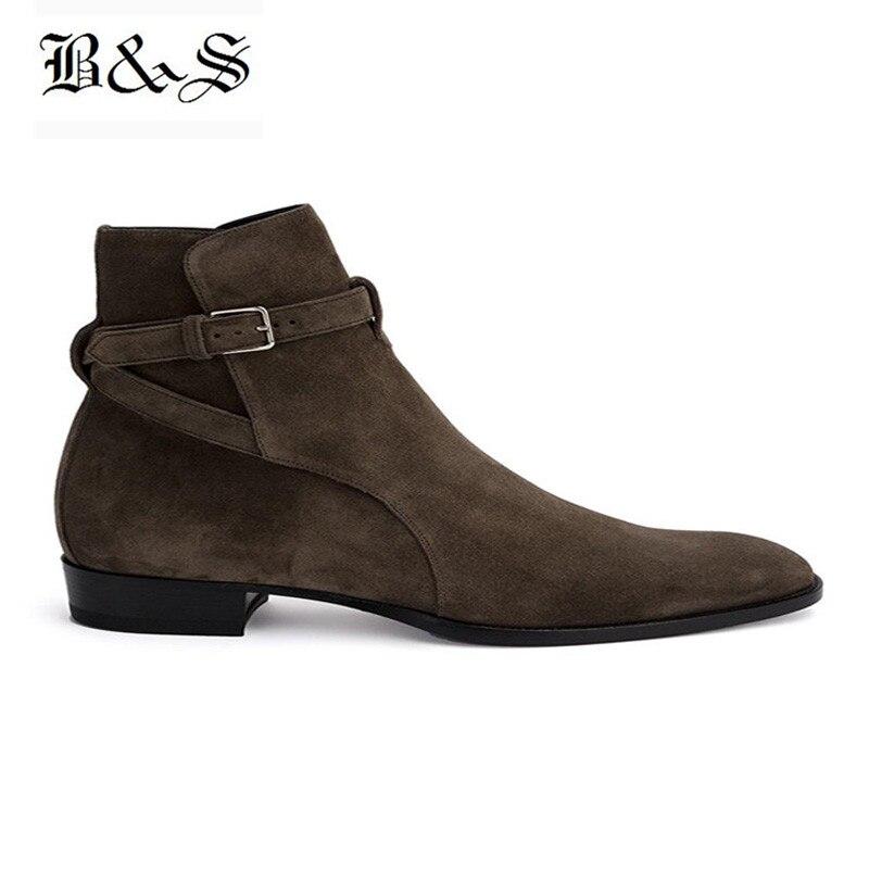 Black& Street Pointed Toe Wyatt Harry MID Buckle Strap Gentle Elegant Men Boots Suede Leather Dress Banquet Chelsea Boots