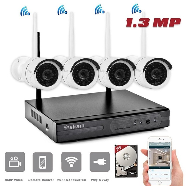 Yeskam 4CH Security Camera System Wireless 960P 1.3 Megapixel HD ...