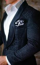 2019 New Airtailors Mens Wedding Suits Blue Black Jacquard Paisley Pattern Shawl Lapel for