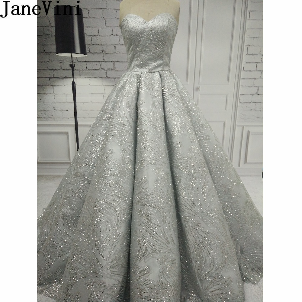 JaneVini Sparkly Silver Sequins Women Prom   Dress   Long Ball Gown Sweetheart Sweep Train Dubai Wedding Party   Bridesmaid     Dresses
