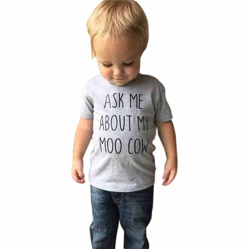 Ask My Moo Cow Letter Cute Kid Boy Short Sleeves Tops T-Shirt Cow Inside Clothes
