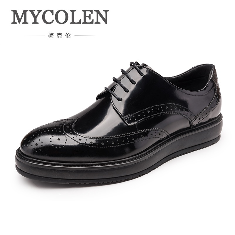 MYCOLEN Fashion Genuine Leather Men Shoes Business Formal Pointed Toe Vintage Wedding Dress Shoes British Erkek Ayakkabi 2017 men shoes fashion genuine leather oxfords shoes men s flats lace up men dress shoes spring autumn hombre wedding sapatos