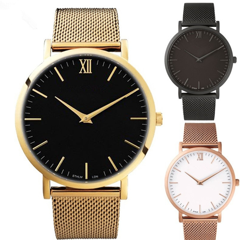 2017 Hot Luxury Men Women Watches Ultra Thin Stainless Steel Mesh Band Quartz Wristwatch Fashion Casual