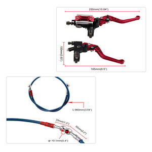 Image 4 - A Pair Hand Brake Clutch Hot Motorcycle Modified Universal Hand Brake Accessories Brake Clutch Assembly+ 96CM Brake Pipe
