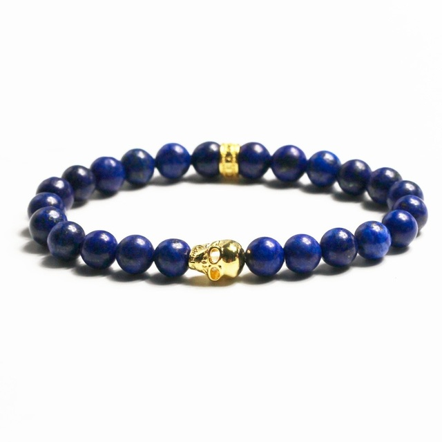 Natural Stone Lapis Lazuli Beads Gold Plated Skull TS Elastic Bracelets Bangles, Thomas Style Jewelry For Men Uir Homme Bijoux