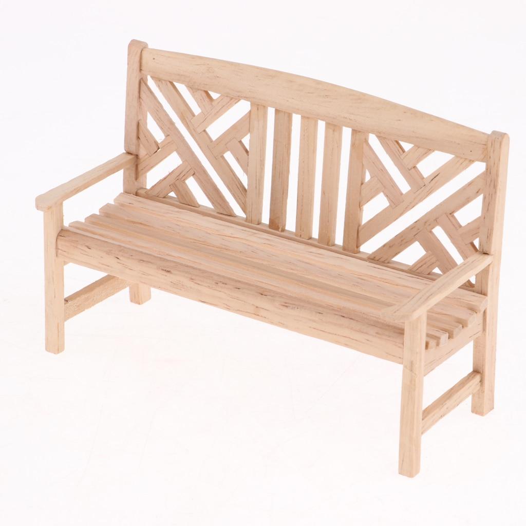 1:12 Dollhouse Miniature Wooden Garden Furniture Unpainted Bench Chair Set