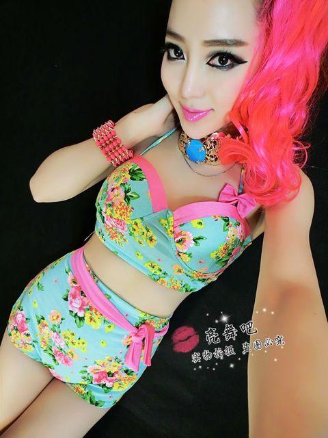 2014 Новая Мода ds Джаз гарем женщин хип-хоп танец костюм Цветок набор лук танца носить шорты и Топ