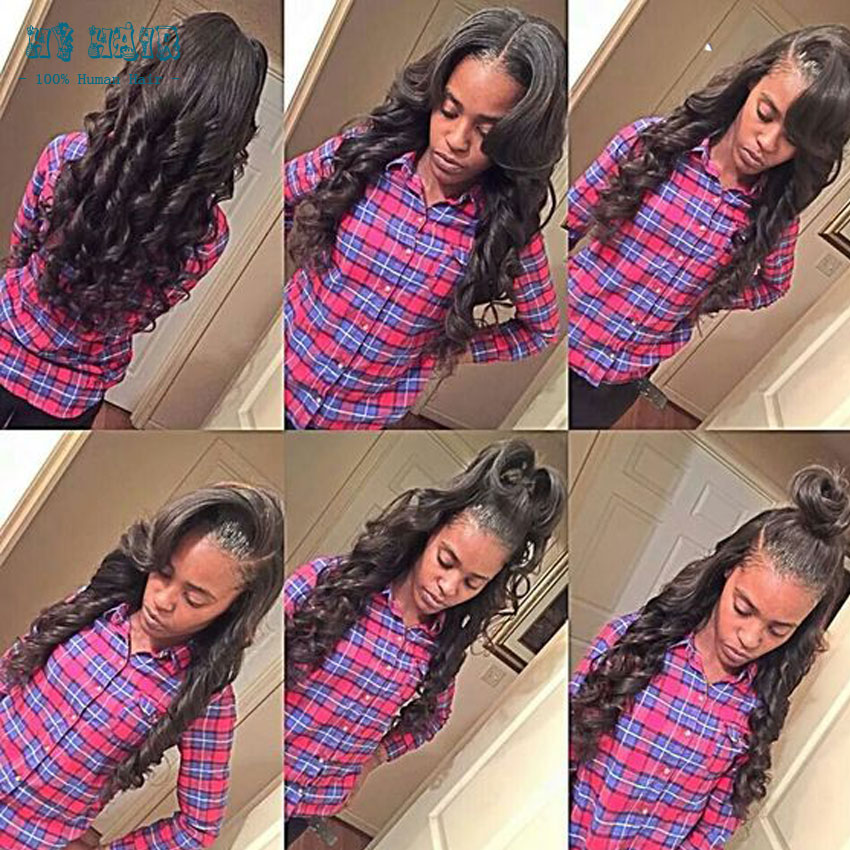 """Grade 7A halo hair extensions natural black soft peruvian body wave hair weave 5 bundles with one 2""""x2"""" top closure black star"""