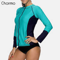 Charmo Frauen Lange Sleeve Zipper Rashguard Hemd Badeanzug Bademode Surfen Top Rash Guard UPF50 + Laufschuhe Shirt Radfahren Shirt