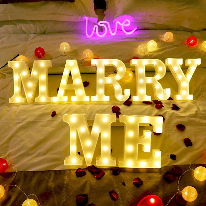 Креативный 26 Английский алфавит числа аккумуляторной лампы светящийся светодиодный ночник с буквами Для романтической свадьбы, вечеринки, Рождественское украшение C