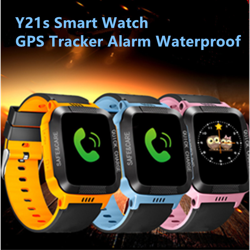 Y21S Kids Smart Watch Positioning GPS Tracker Alarm Waterproof Wristwatch Security Camera+Button Touch Screen+ USB Cable