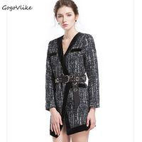 Winter Vintage Plaid blazers with Rivet Belt Sexy Slim business OL Office suit jackets Punk mix Blend Coat LT277S50