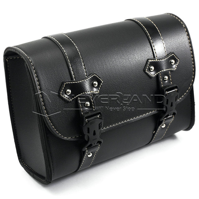 Black Motorcycle Saddle Bags Leather Motorbike Side Tool Pouch Tail Bag Luggage Borsello Moto Universal Freeshipping D20