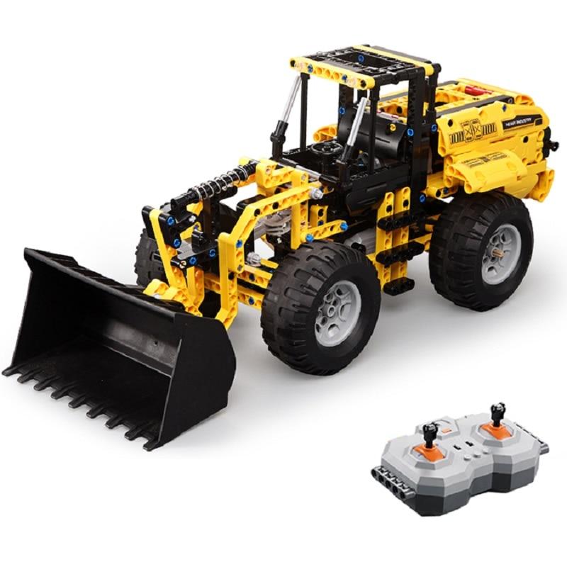 CaDA RC Building Block Remote Control Crawler Excavator Big Crane Mixer Truck Bulldozer Suspension System Toy