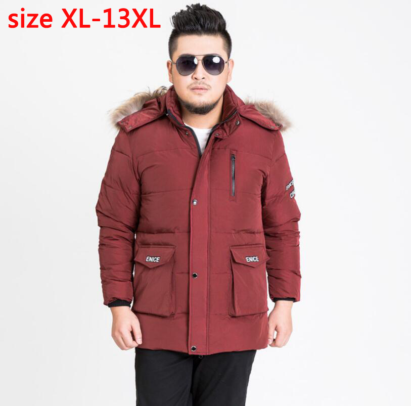 new arrival men with hood Fur collar super large bust 185 cm casual obese down coat thick outerwear plus sizeXL-12XL13XL