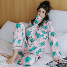 2018 Women Spring Thin Ladies Silk Pajamas Satin Sleepwear Women's Sleep
