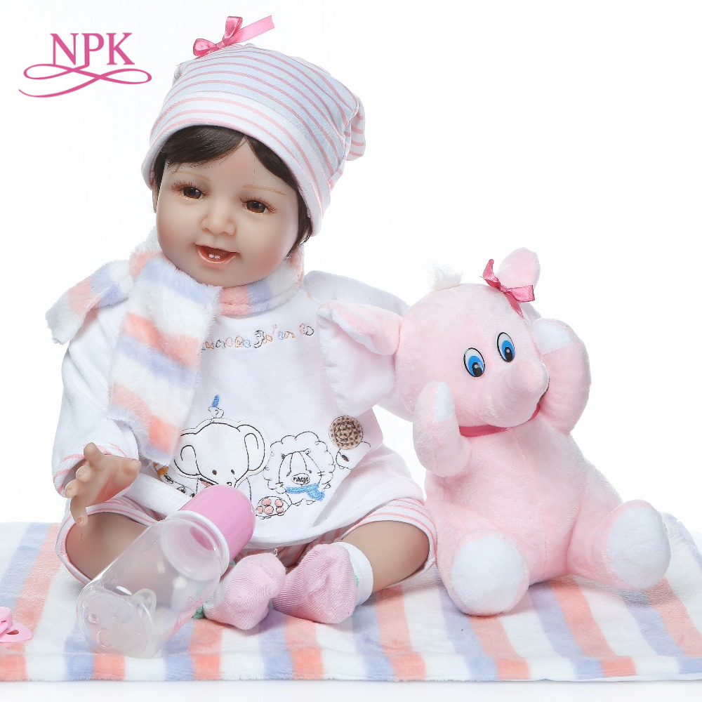 NPK 22 inch Reborn Baby Dolls Realistic Silicone Soft 55cm Babies Real Life Dolls With baby