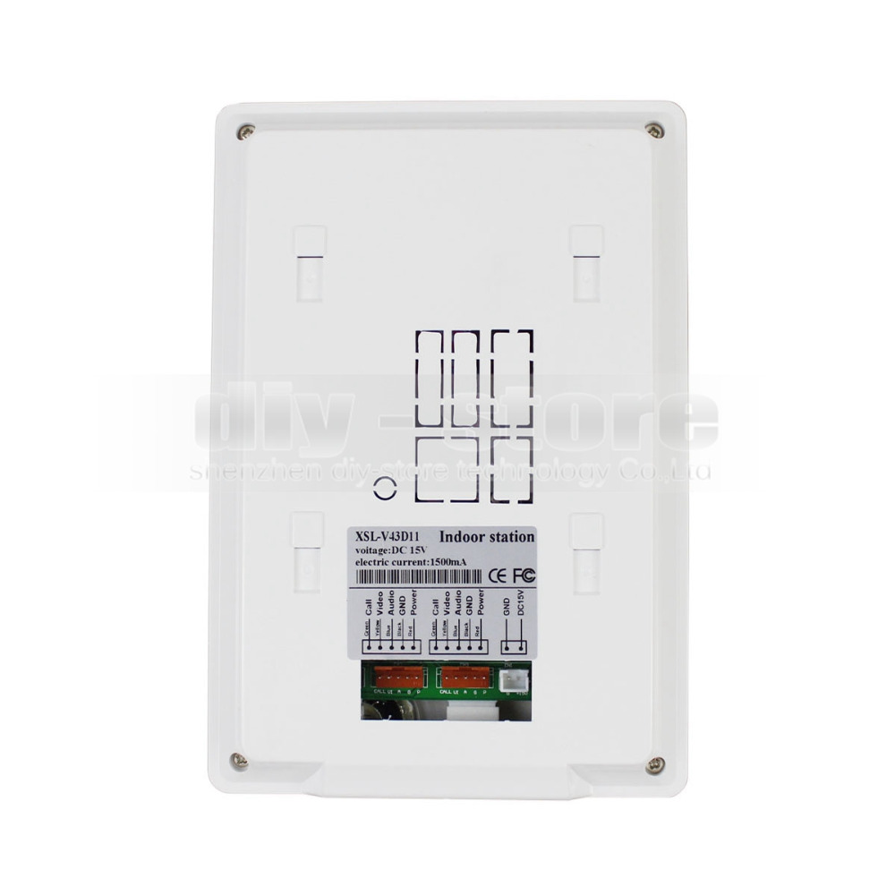 DIYSECUR 4.3 Apartment Video Intercom Video Door Phone Doorbell System IR Camera Touch Key For 2 Families