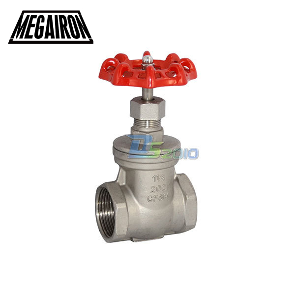 MEGAIRON 1-1/4 DN32 Stainless Steel SS316 Thread Female Gate Valve CF8M Heavy Duty Max 200Psi 1 2 globe valve stainless steel ss 316 cf8m heavy duty new page 3 page 1