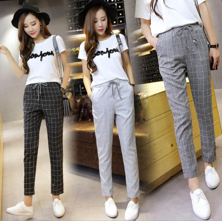 M-5XL New 2019 Women's clothing fashion hair stylist Plaid Ankle banded Harem   pants     Capri     pants   plus size costumes