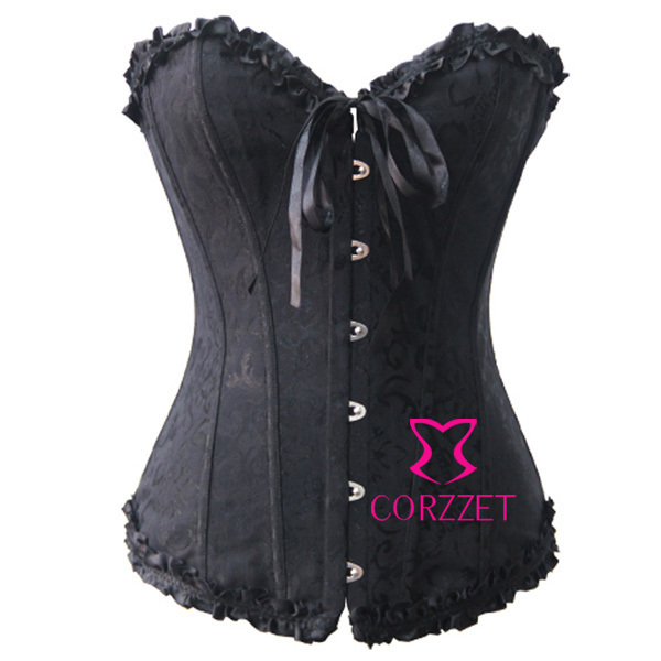 2014 Hot Women Overbust Bodice   Bustiers  &  Corsets   Cheap Price Female S/M/L/XL/XXL/3XL/4XL/5XL/6XL Plus size   Corset   Black Corsage