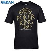 GILDAN 2017 Summer Brand Clothing Solid Color Men T Shirt The Poker King Texas Hold Em
