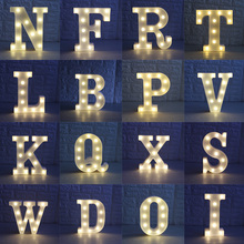 White Plastic 26 Letters White LED Night Light Marquee Sign Alphabet Lamp For Birthday Wedding Party Bedroom Wall Hanging Decor