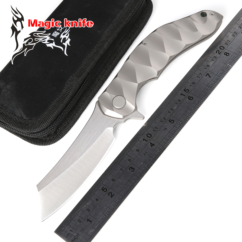 magic chav D2 blade TC4 titanium Flipper Tactical ball bearing folding knife camping hunting outdoor survival knives EDC tools bmt mad flow ceramic ball bearing folding knife d2 blade titanium handle tactical knives outdoor survival pocket knife edc tools