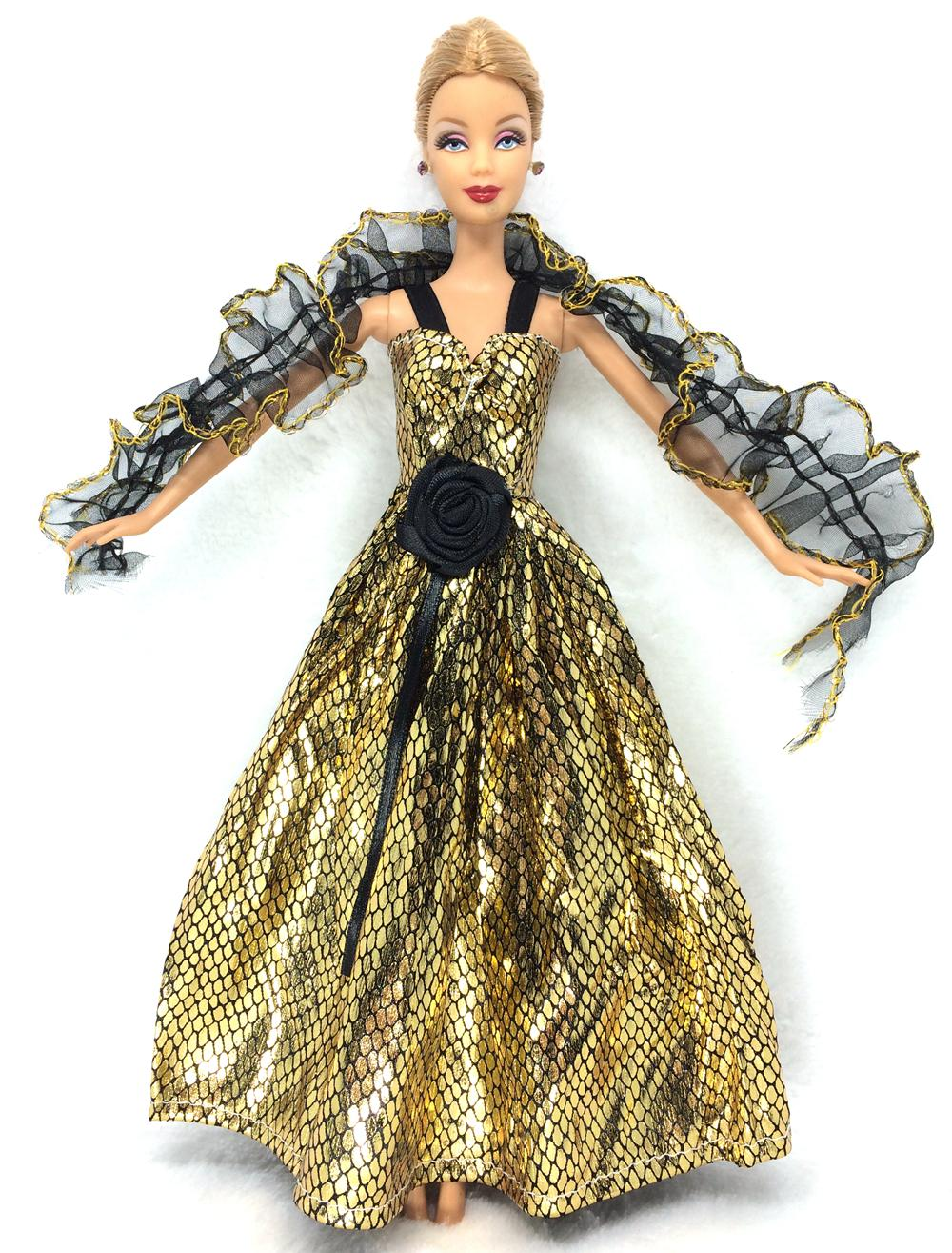 NK Newest Princess Golden Dress Lace Tippet Noble Party Gown For Barbie Doll Fashion Design Outfit Best Gift For Girl Doll