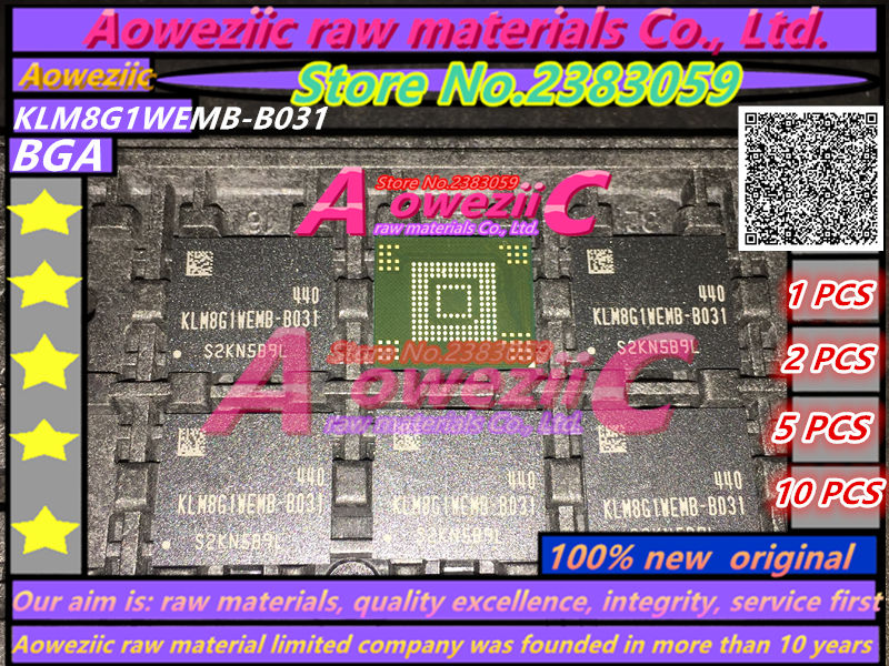 Aoweziic 100% new original KLM8G1WEMB-B031 BGA Memory chip EMMC 8GB KLM8G1WEMB B031