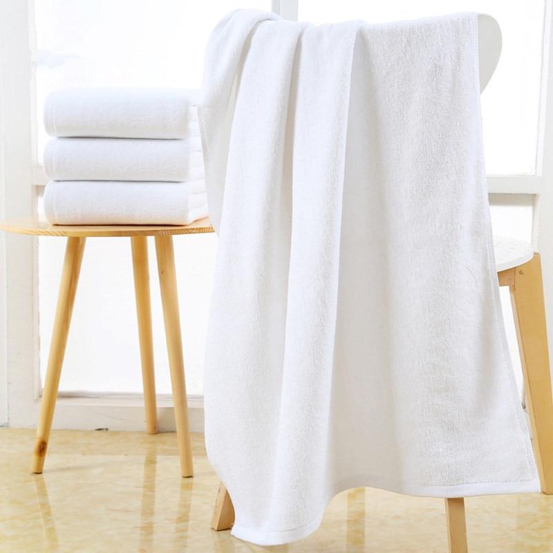 80*180cm White Hotel Towels 100% Cotton Bath Beach Towel 2018 New Absorbent Bath Towels for Adults Salon Beauty Bathroom Towels