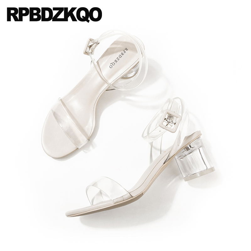 Shoes Jelly High Heels Thick Glass Clear Strap Famous Brand Pvc Chunky Ankle Women Elegant Perspex Pumps Sandals Transparent