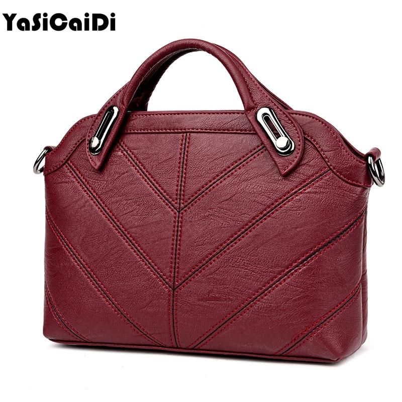 YASICAIDI High Quality PU Leather Women Handbag Black Leather Thread Shell Messenger Bag Ladies Famous Brand Women Bag Sac A Mai enopella thread casual pu leather women