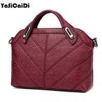 YASICAIDI High Quality PU Leather Women Handbag Small Black Thread Shell Messenger Bags Ladies Famous Brand