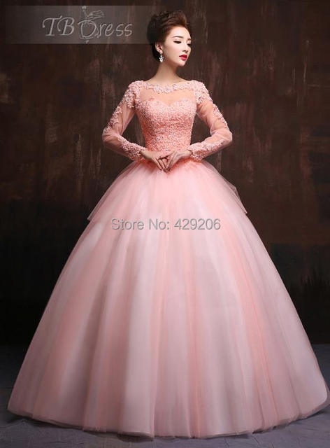 53c2a6da8ea Elegant Scoop Neck Ball Gown See Through Lace Long Sleeves Applique Beaded  Floor-Length Quinceanera