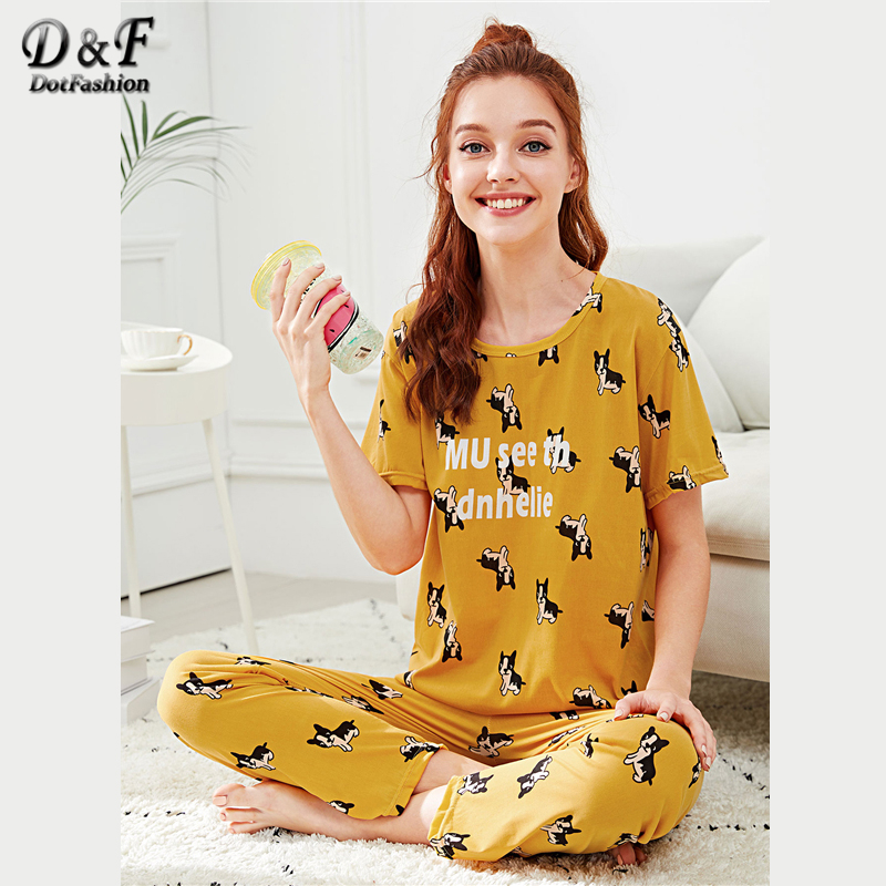 Dotfashion Dog & Letter Animal Print   Pajama     Set   Women 2019 Summer Yellow Round Neck Short Sleeve Nightwear Ladies Casual PJ   Sets