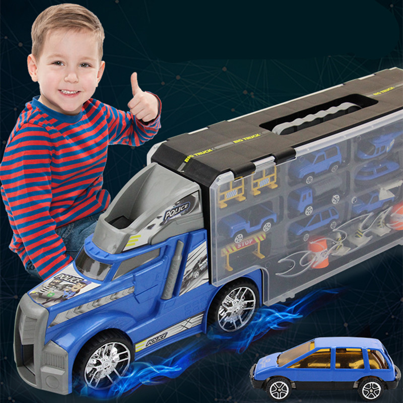 21 in 1 Child Toy Police Car Truck Diecasts and Toy Vehicles Educational 1:24 Transport Cars Carrier Toy For Children Boys transport phenomena in porous media iii