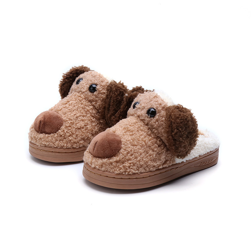 Winter new thick plush cotton shoes pink cute animal slippers boys and girls indoor cotton drag