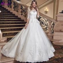 Detmgel Elegant Lace Half Sleeve A-Line Wedding Dress 2019