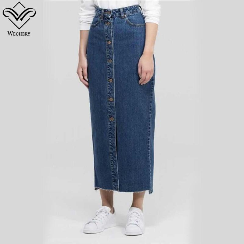 Wechery 2018 Denim Skirt Muslim Women Jeans Skirts Blue Long Clothing Islamic Turkish Islamic Middle East Clothes