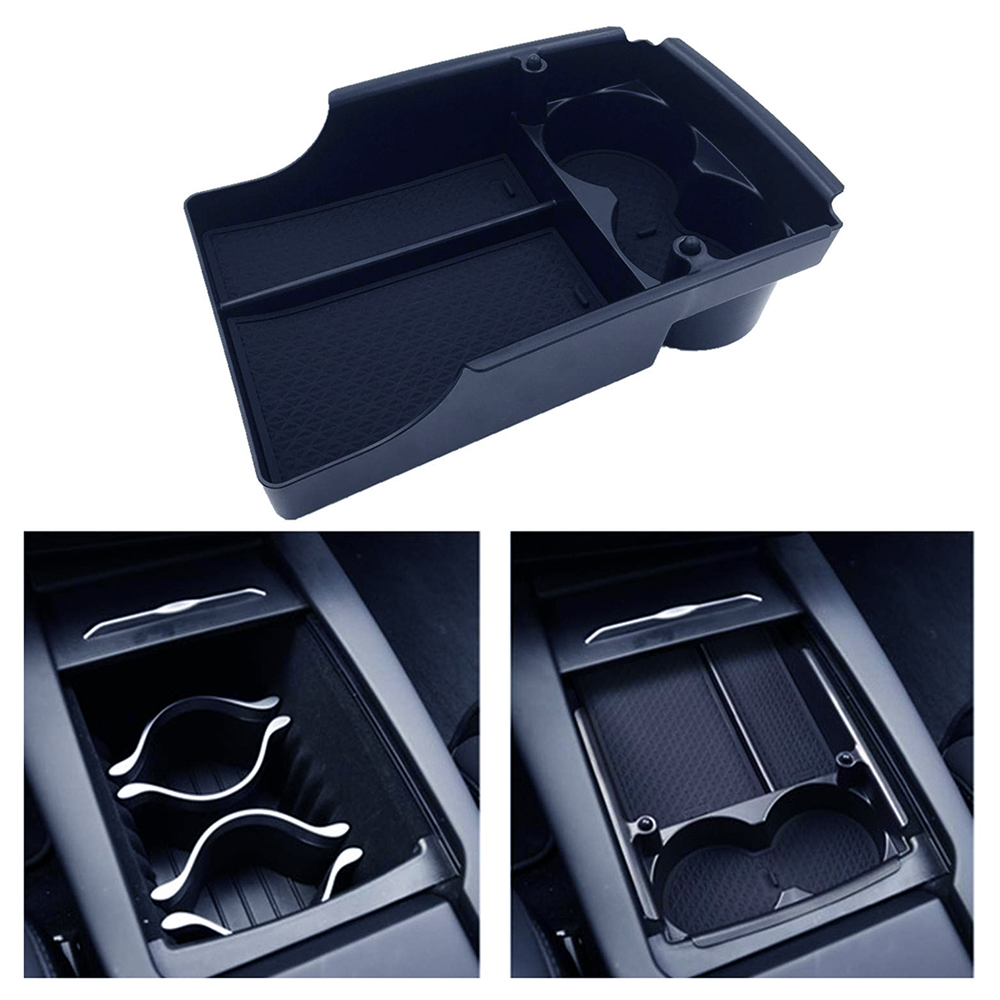 For Tesla Model S/X Centre Organizer Tray Console Armrest Storage Box and Cup Holders 2016\2017\2018 Plate Container Accessory(China)