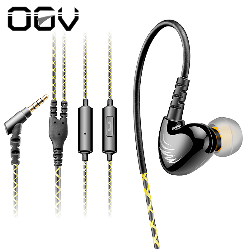 OGV W1 Sport Earphone Running  In Ear Mobile Wired Headset with Microphone Original Brand Electronics MP3 earhook original senfer dt2 ie800 dynamic with 2ba hybrid drive in ear earphone ceramic hifi earphone earbuds with mmcx interface