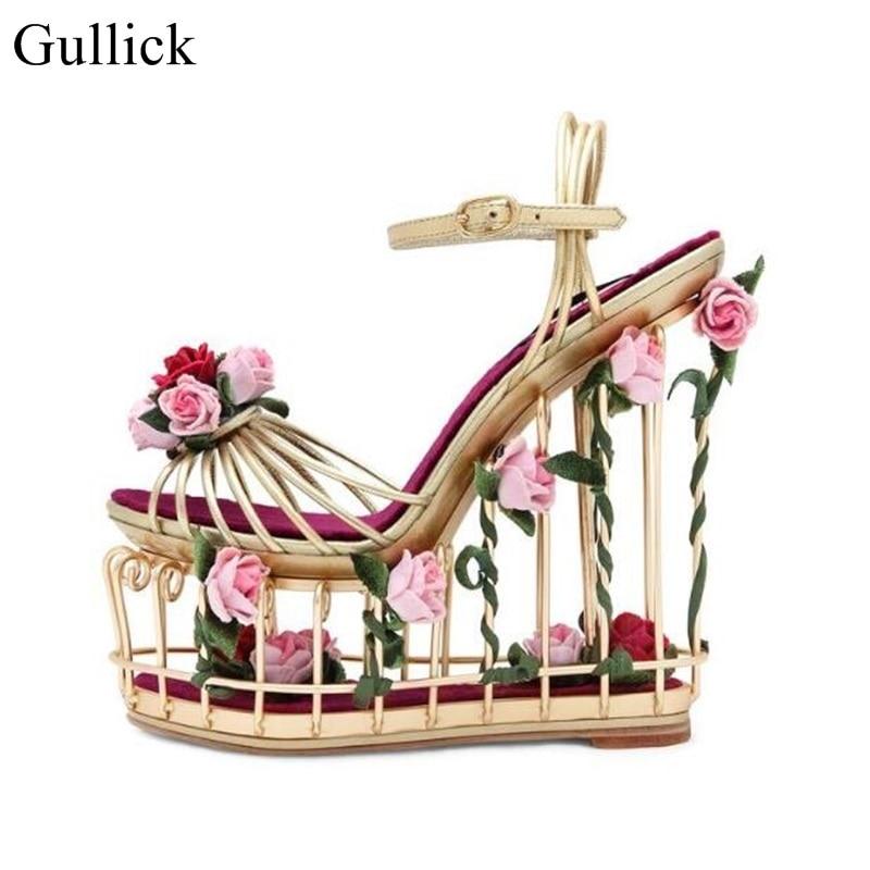 Винтаж Bird Cage Обувь розовое золото металл полосатый клин сандалии женские открытые каблук цветок сандалии для подиума вечерние модельные ту